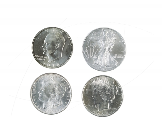 History of American Silver Dollars on White Background
