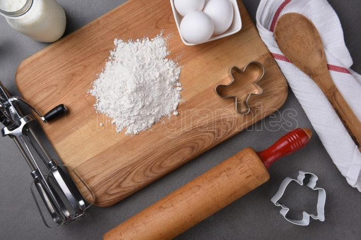 Holiday baking equipment with rolling pin and cookie cutters