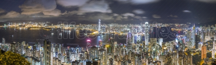 Hong Kong Panorama Skyline at night, view from The Peak
