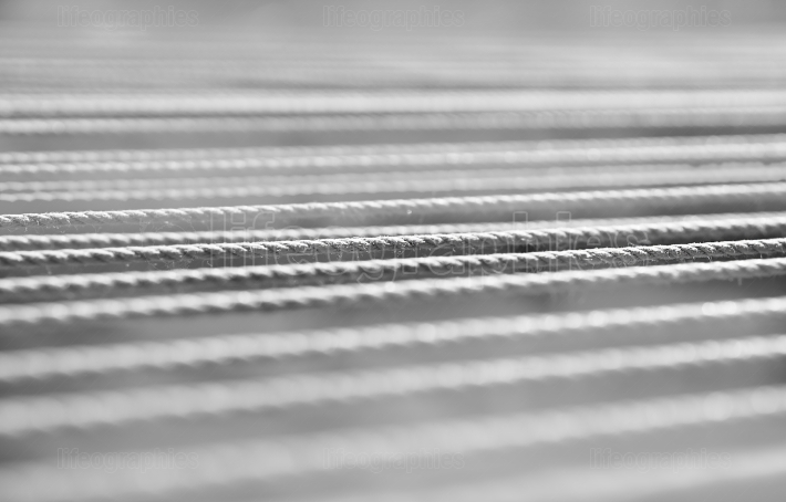 Horizontal black and white rope detail bokeh background