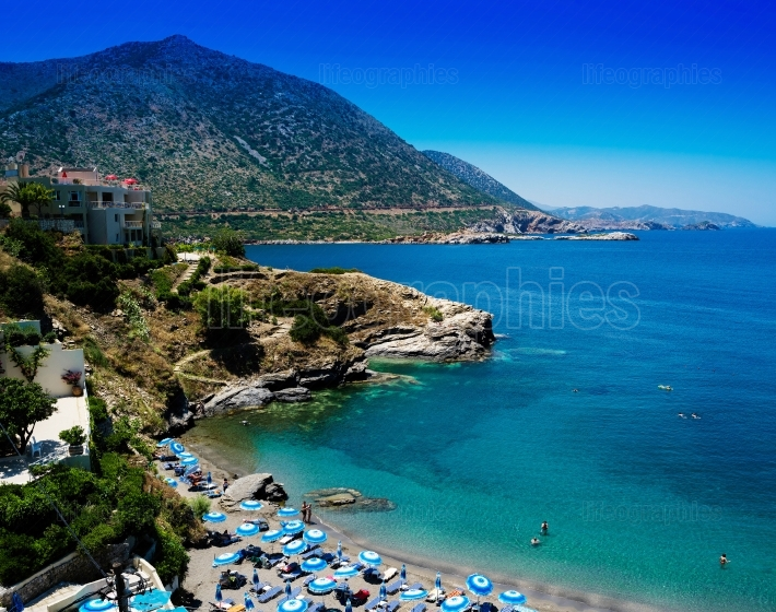 Horizontal Greece Crete beach vivid landscape