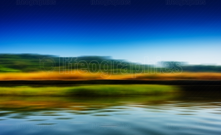 Horizontal riding speed boat on river abstraction