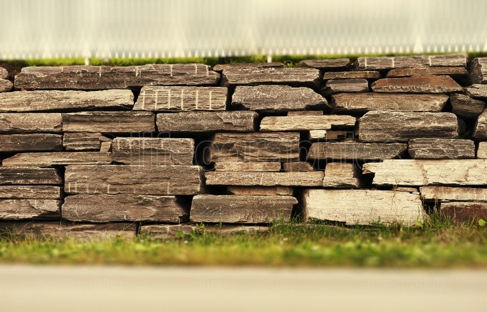 Horizontal sepia brick wall bokeh background  hd