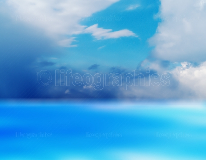 Horizontal vivid aqua empty blank dream cloudscape landscape bac