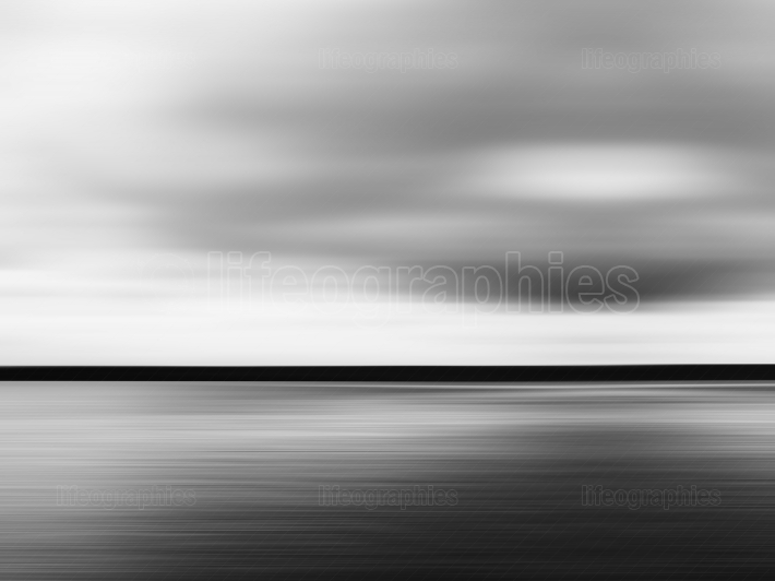 Horizontal vivid black and white minimal landscape abstraction b