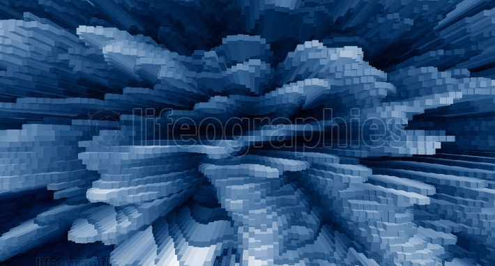 Horizontal vivid blue business extrude cube abstraction backgrou