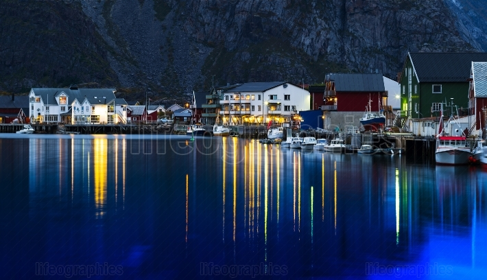 Horizontal vivid evening Norway town light reflections landscape