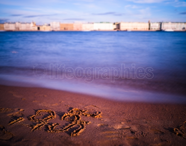 Horizontal vivid i love Saint Petersburg on beach writing backgr