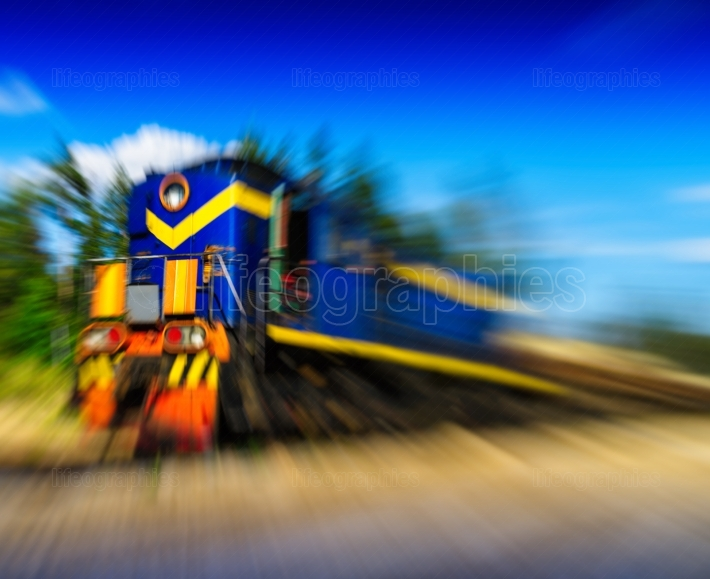 Horizontal vivid moving train abstraction background backdrop