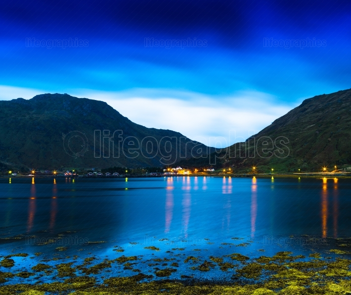 Horizontal vivid Norway fjords ocean landcape cloudscape long ex