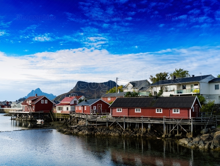Horizontal vivid Norway town andscape background backdrop