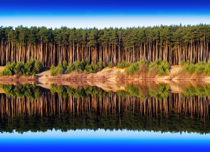 Horizontal vivid river side dramatic forest reflection backgroun