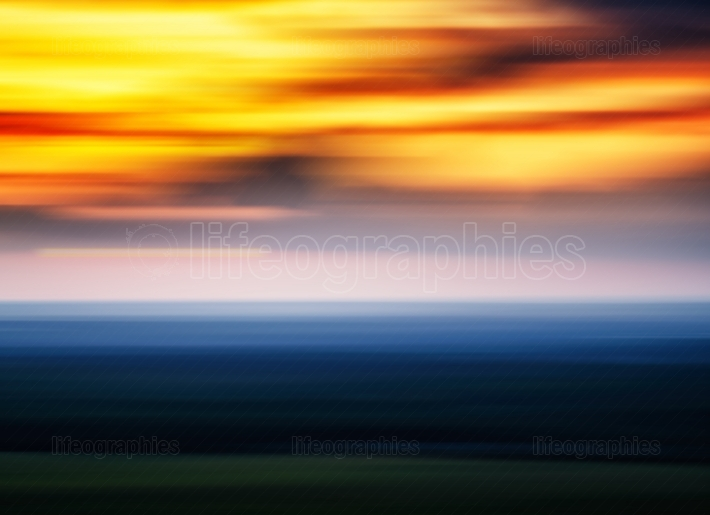 Horizontal vivid sunset landscape travel motion abstraction