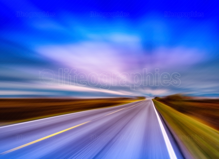Horizontal vivid vibrant Norway highway motion blur abstraction