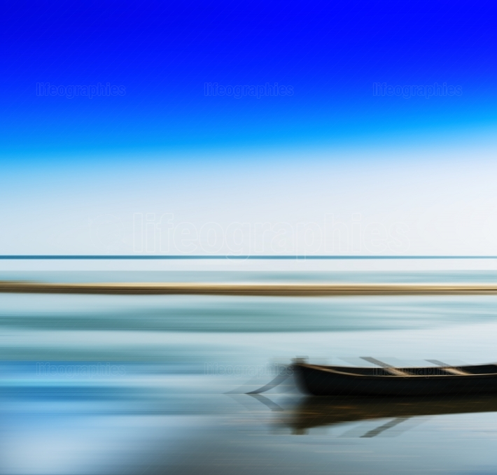 Horizontal vivid vibrant travel boat blur abstraction background