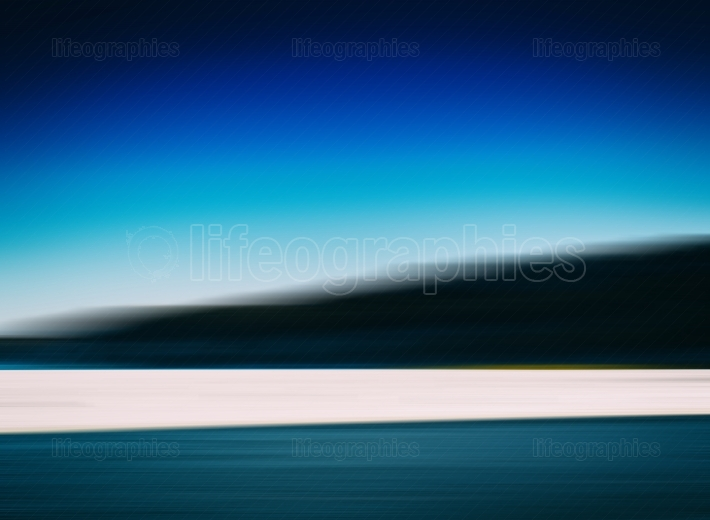Horizontal vivid winter fishing on lake landscape abstract backg