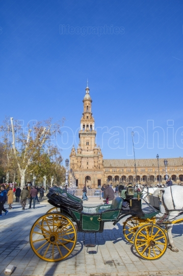 Horse drawn carriage in Plaza de Espana in Seville