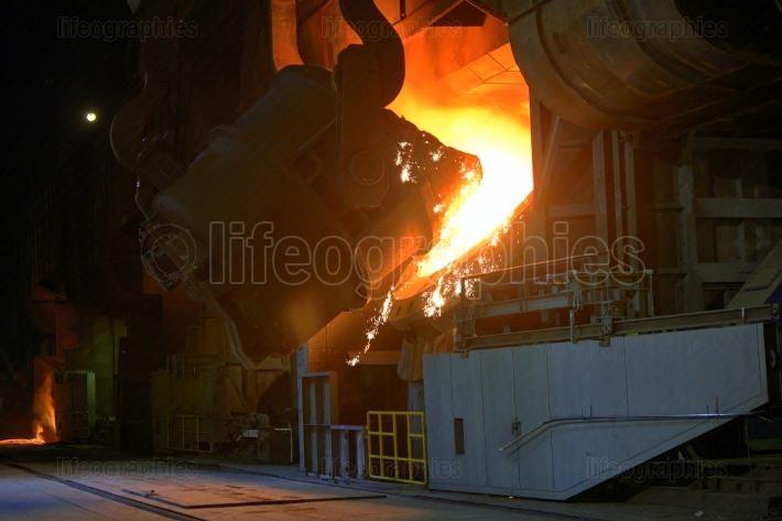 Hot steel pot in plant