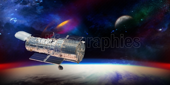 Hubble telescope with stars and galaxies in outer space showing