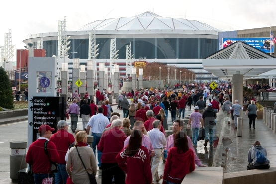 Hundreds Of Alabama Fans Walk Toward Georgia Dome