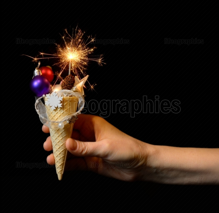 Ice cream cone and christmas decoration