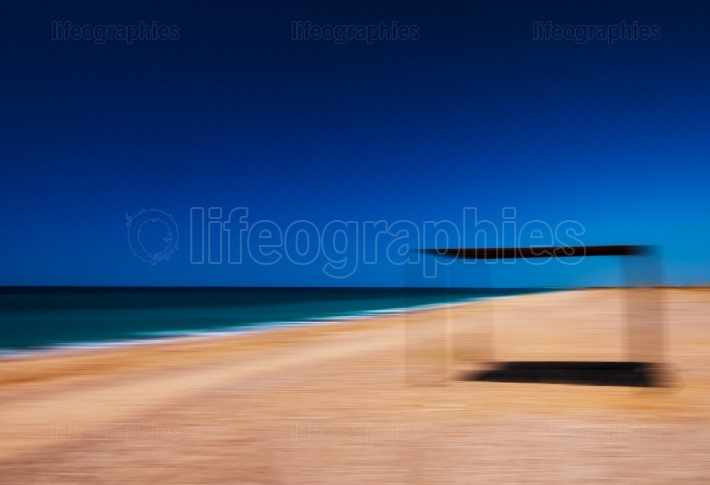 Idyllic beach vacation shed awning abstraction background