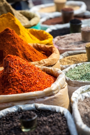 Indian colored spices at local market