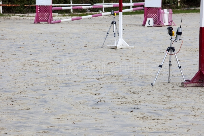 Infrared devices barriers before obstacle at horse jumping compe
