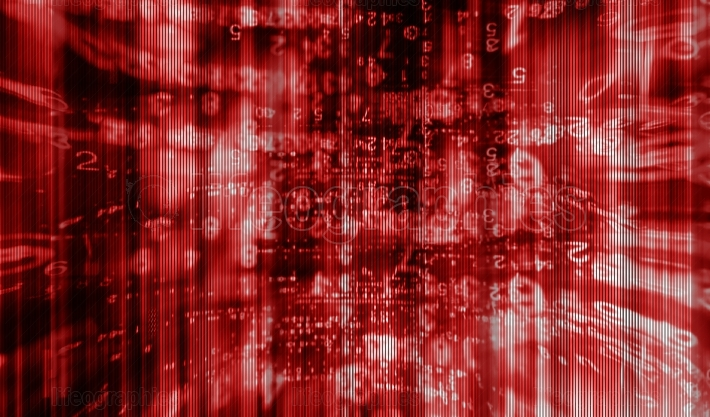 Inside computer red interlaced digital abstraction background
