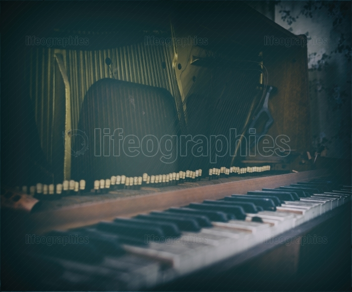 Inside old vintage opened piano bordered