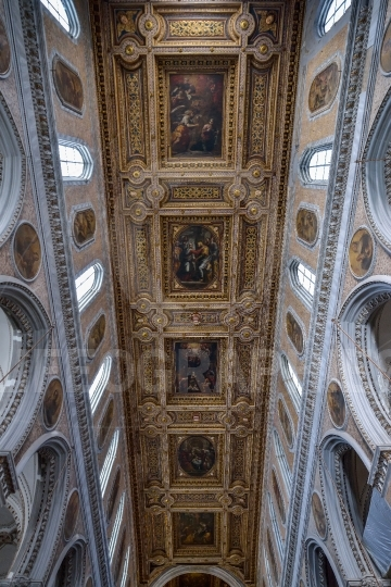 Interior of the Naples Cathedral, Duomo di San Gennaro in Italy