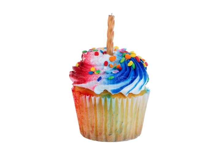 Isolated cupcake decorated for Fourth of July holiday
