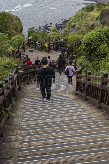 Jeju island - october 25, 2016: long stairways down the hill,jej