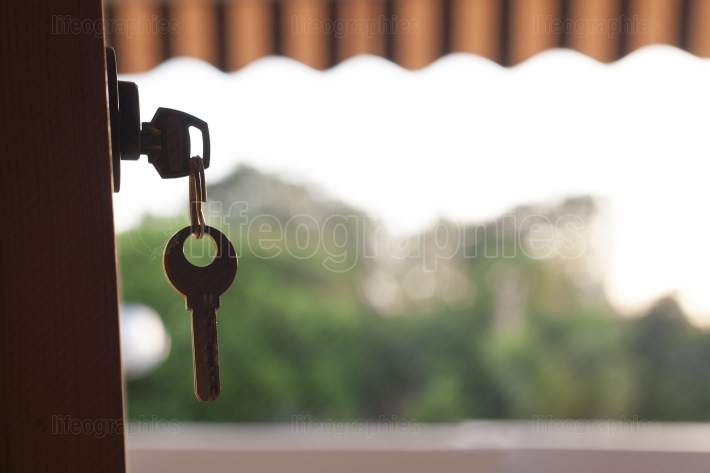 Keys hanging from the door with a nature background