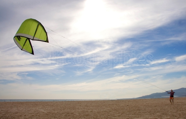 Kite surfer beginer  training out of water