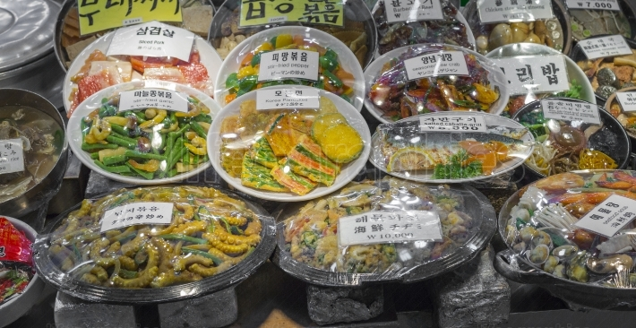 Korean side dishes at local market in Seoul, South Korea.