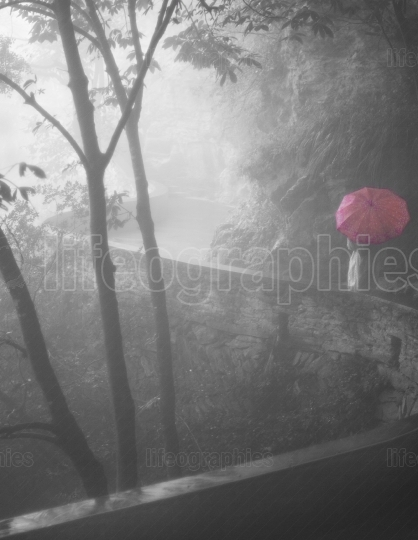 Lady with a red umbrella through a mystical deep forest covered by dense fog