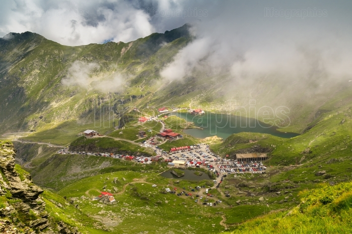 Landscape from Transfagarasan Balea glacier lake mountains in a