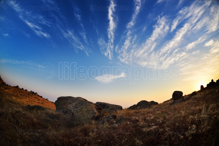 Landscape with beautiful sky in dobrogea, romania