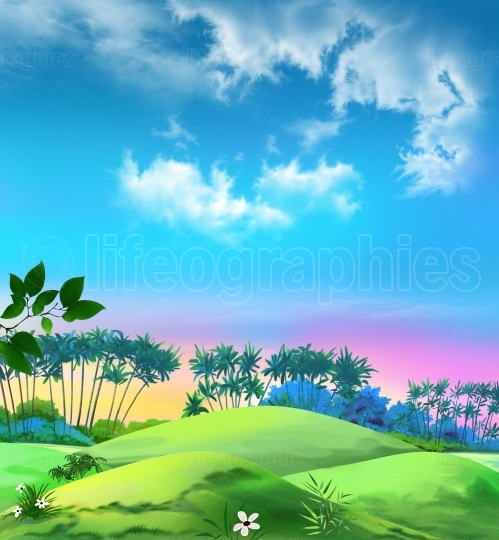 Landscape with palms against the blue sky