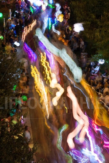 Lantern Lights Motion Blur In Eclectic Atlanta Night Parade