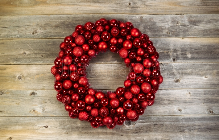 Large Christmas Wreath on Faded Wood