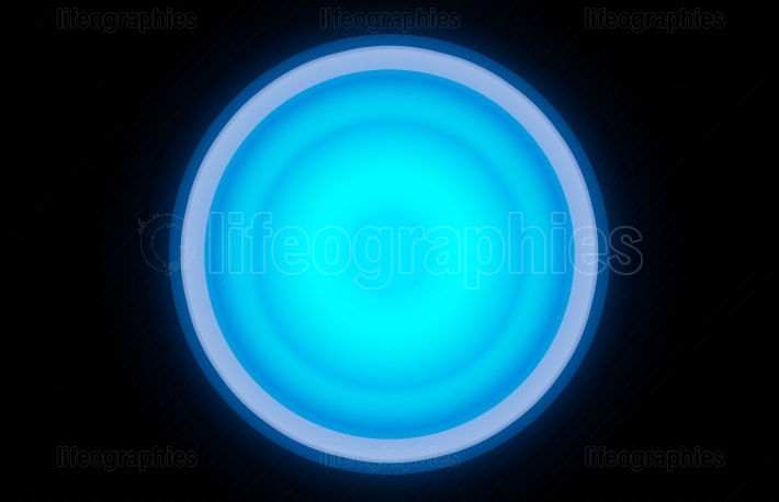 Large cyan glowing button illustration background