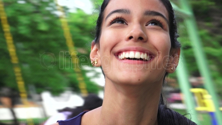 Laughing Youthful Colombian Teen Female
