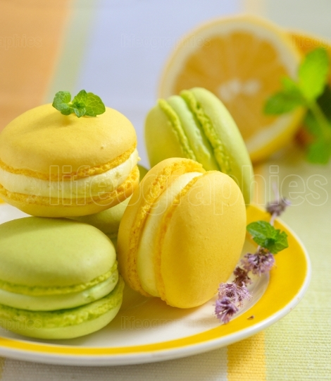 Lemon and mint macaroons