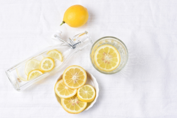 Lemon Water on Linen Towel