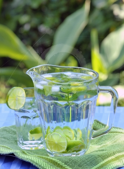 Lemonade in pitcher and glass with mint