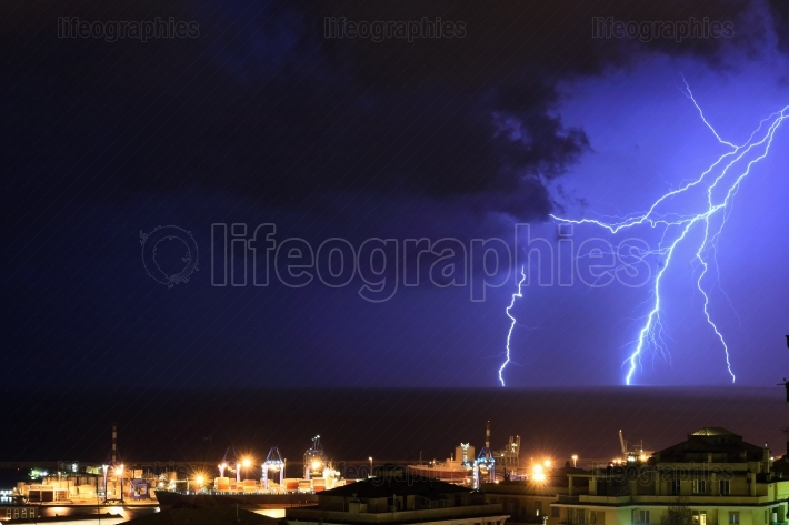 Lightning in Genoa, Italy