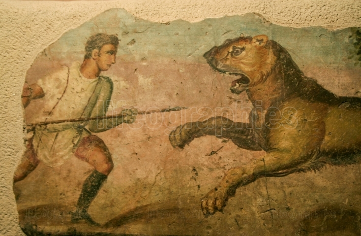 Lion hunter, roman painting