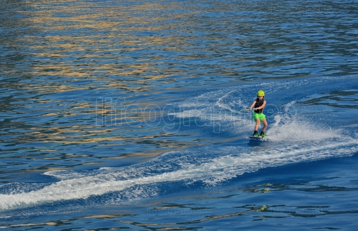 Little boy Wakeboarding